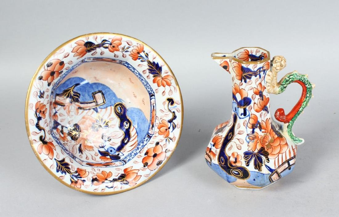 A MASONS IRONSTONE JAPAN PATTERN JUG AND BOWL.