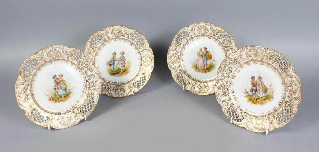 A SET OF FOUR BERLIN PORCELAIN PLATES, with pierced