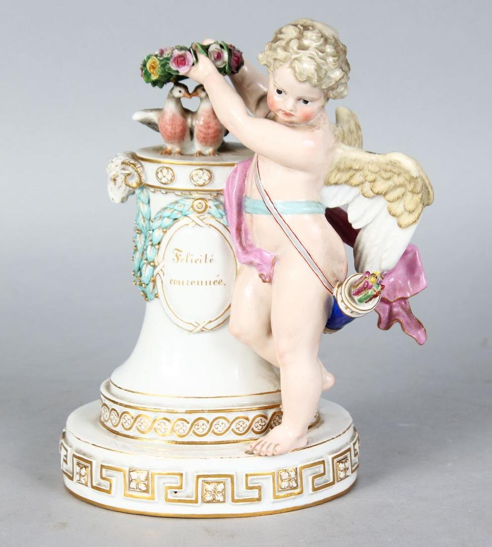 "A GOOD MEISSEN GROUP, ""Felicite Couronnee"", a cupid"