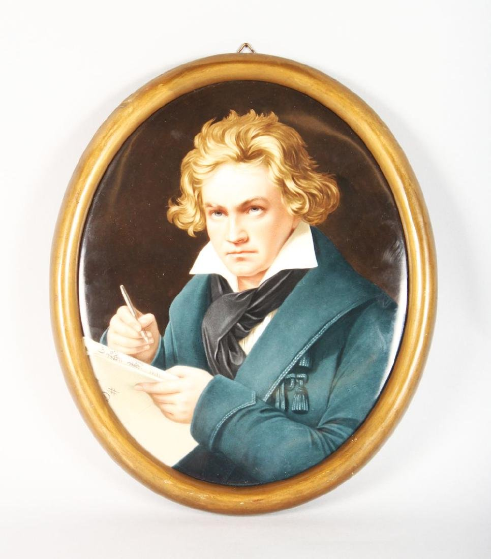 A VERY GOOD KPM PORCELAIN OVAL PLAQUE OF BEETHOVEN.