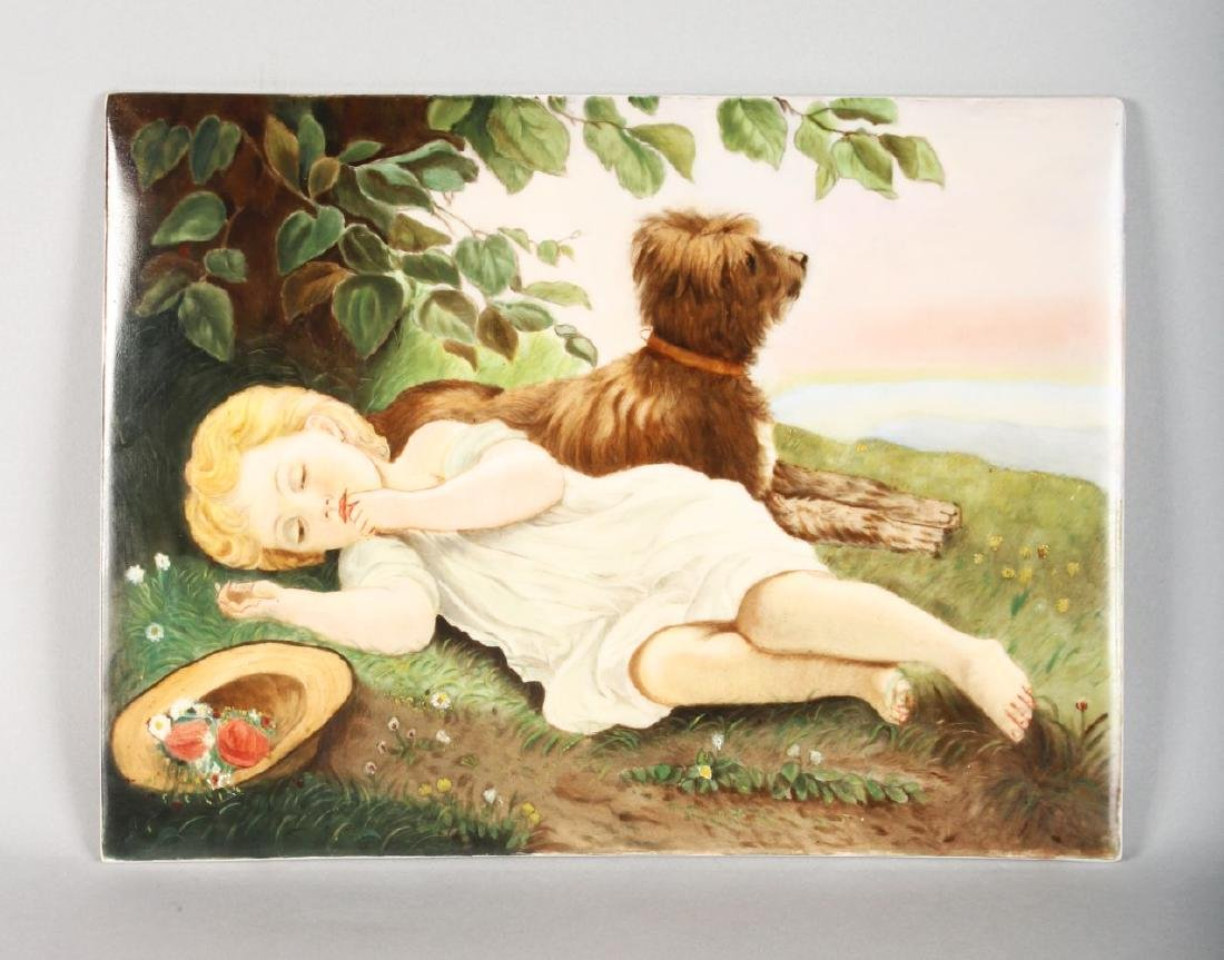 A GOOD KPM PORCELAIN RECTANGULAR PLAQUE, a child