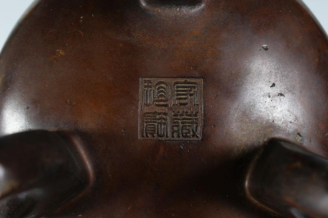 A CHINESE CIRCULAR BRONZE TWO HANDLED CENSER on three - 2