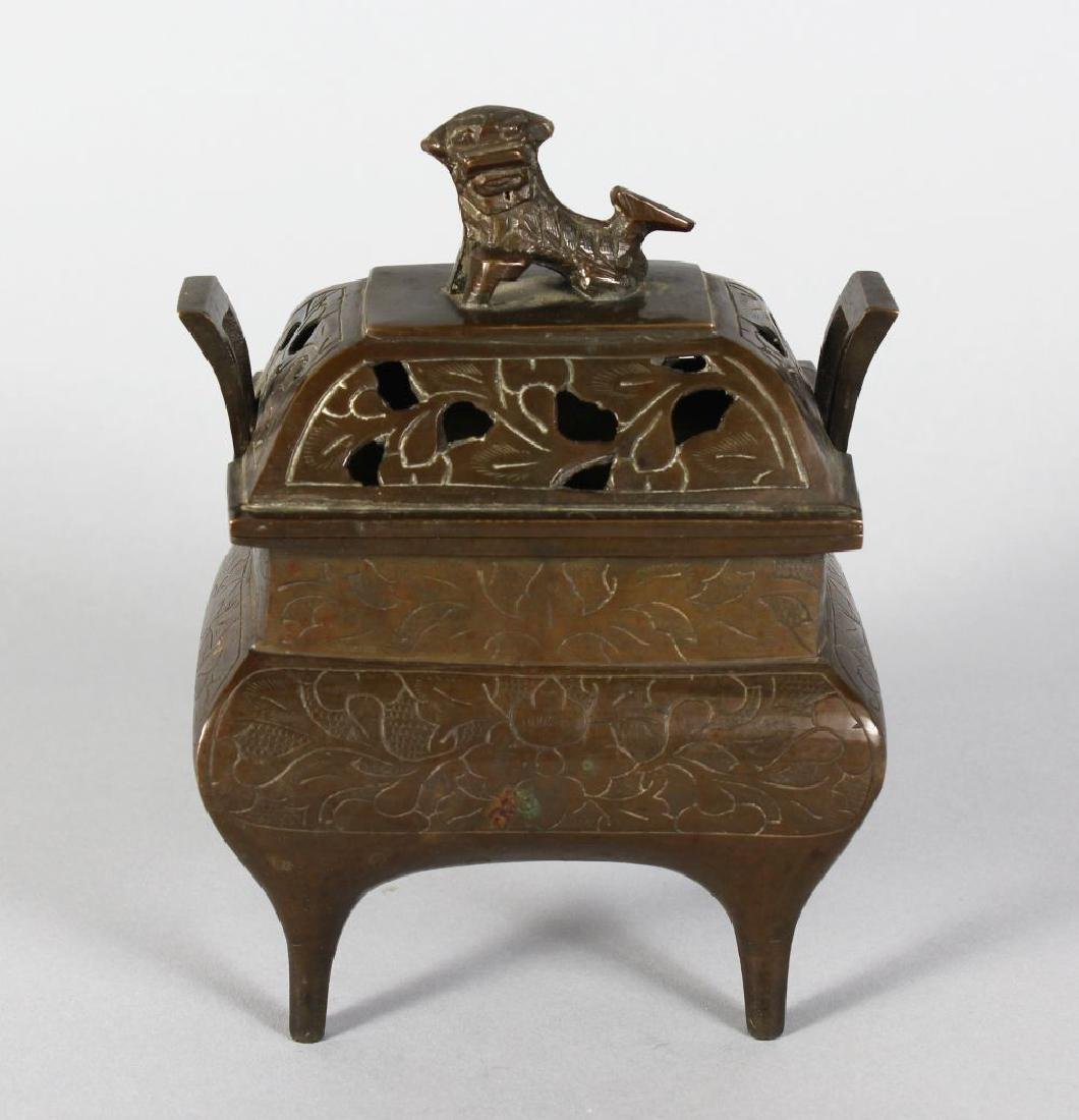 A CHINESE BRONZE RECTANGULAR CENSER, the lid with dog