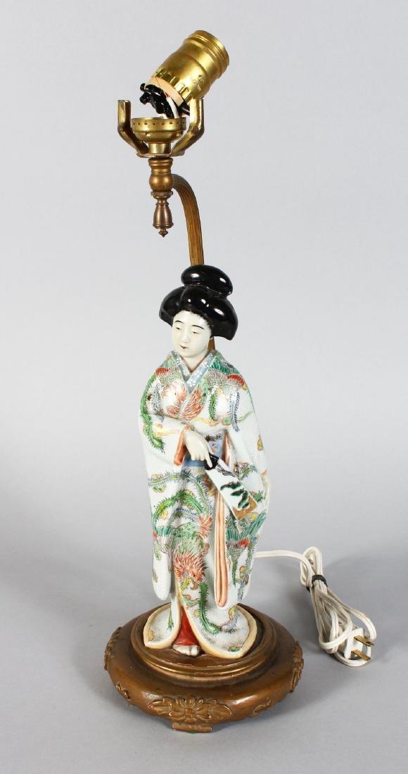 A JAPANESE PORCELAIN FIGURE OF A GEISHA, converted to a