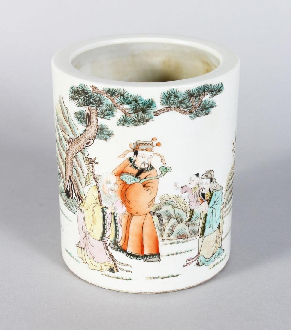 A CHINESE REPUBLICAN PORCELAIN BRUSH POT with figures