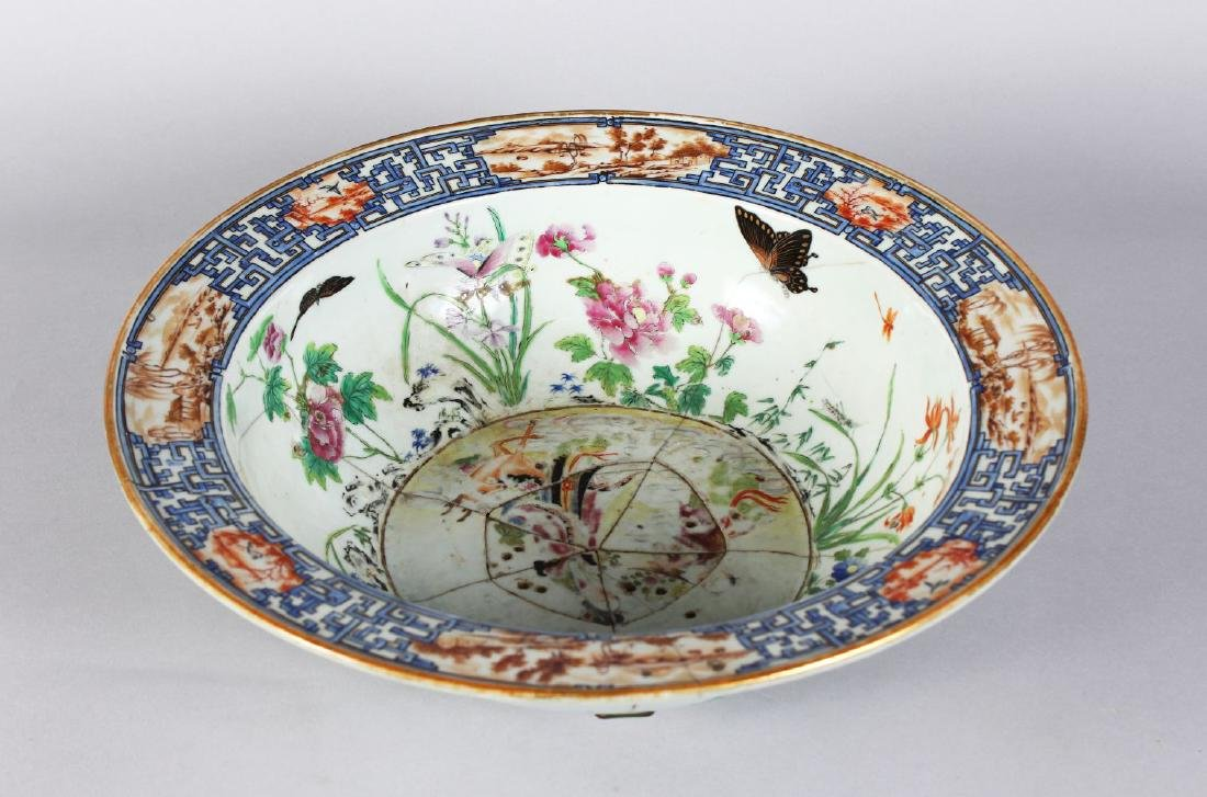 A CHINESE CIRCULAR ENAMEL DECORATED BOWL (AF).  15ins