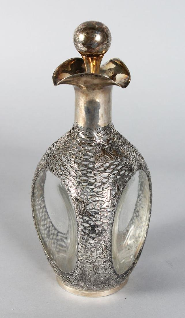 A DIMPLE DECANTER AND STOPPER with Chinese silver