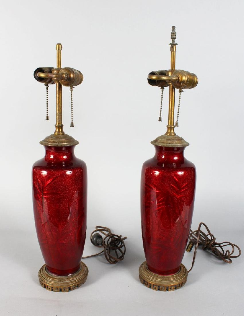 a pair of red cloisonne enamel vases CONVERTED TO