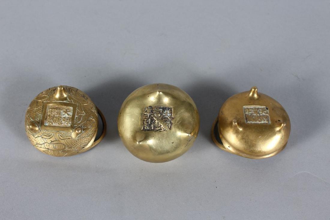 THREE SMALL CHINESE BRONZE CENSERS. - 2