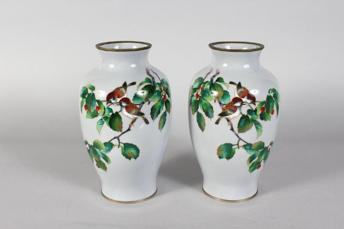 A GOOD PAIR OF JAPANESE CLOISONNE ENAMEL VASES