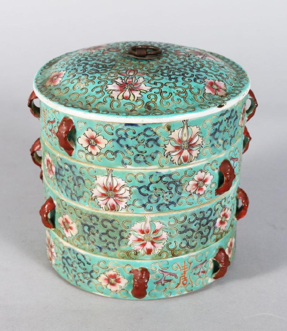 A  CHINESE FOUR TIER CIRCULAR STACKING BOX. 5ins high.