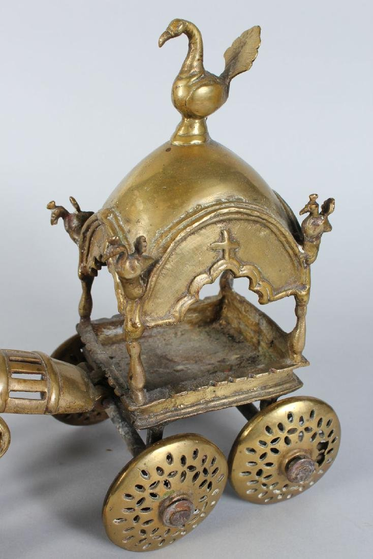 AN INDIAN BRONZE CEREMONIAL HORSE AND CART. - 3