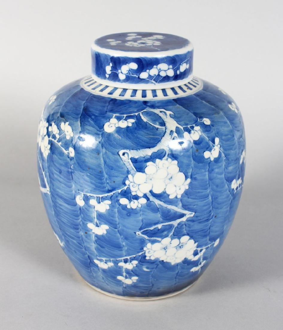A CHINESE BLUE AND WHITE ALMOND BLOSSOM GINGER JAR AND