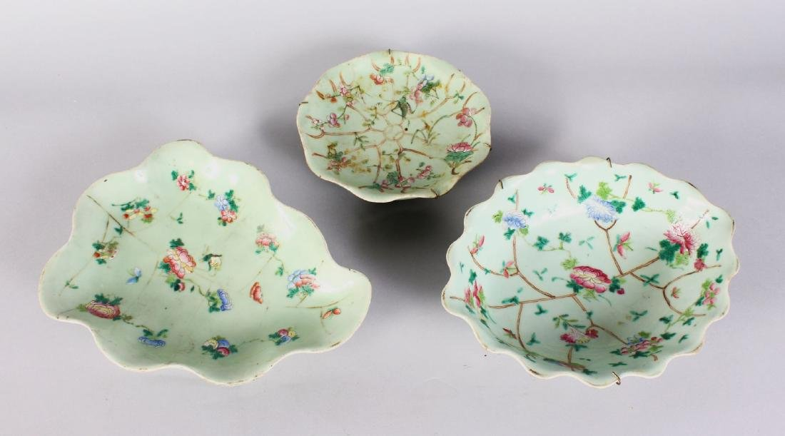 THREE CHINESE CELADON SHAPED DISHES.