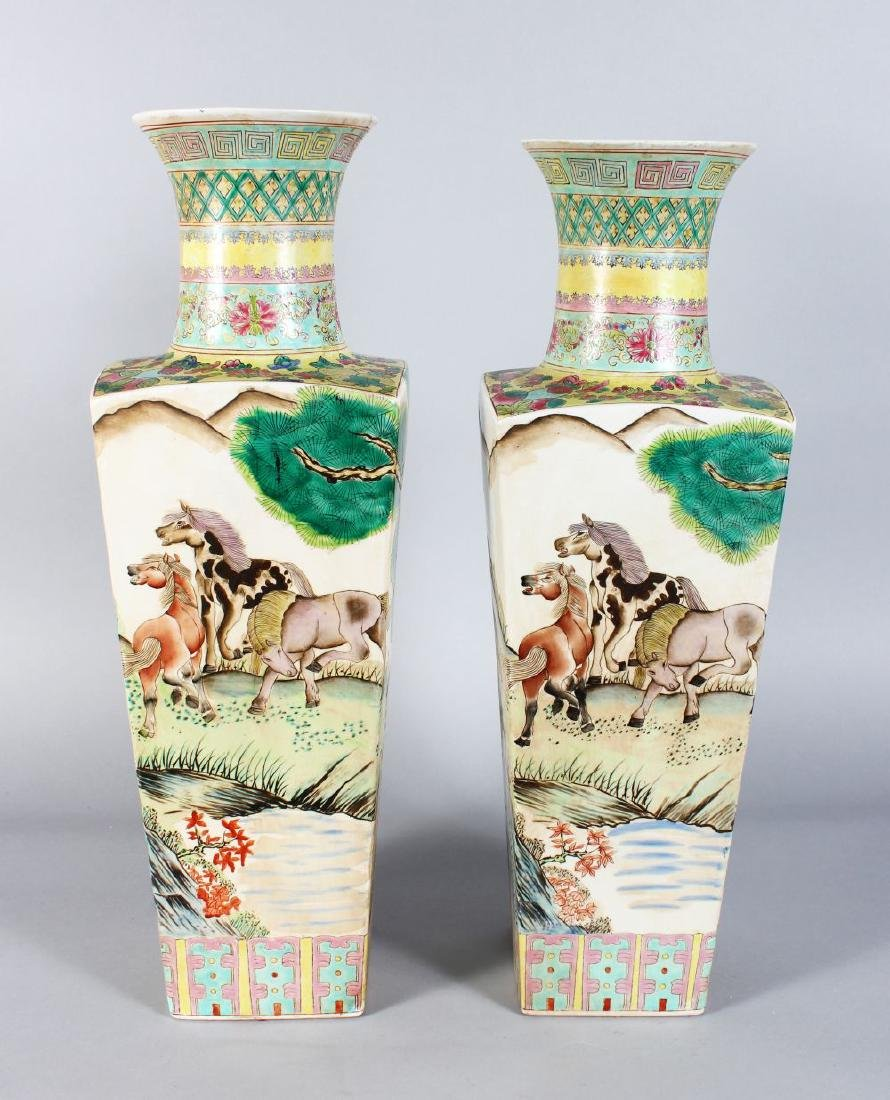 A PAIR OF CHINESE SQUARE TAPERING VASES painted with