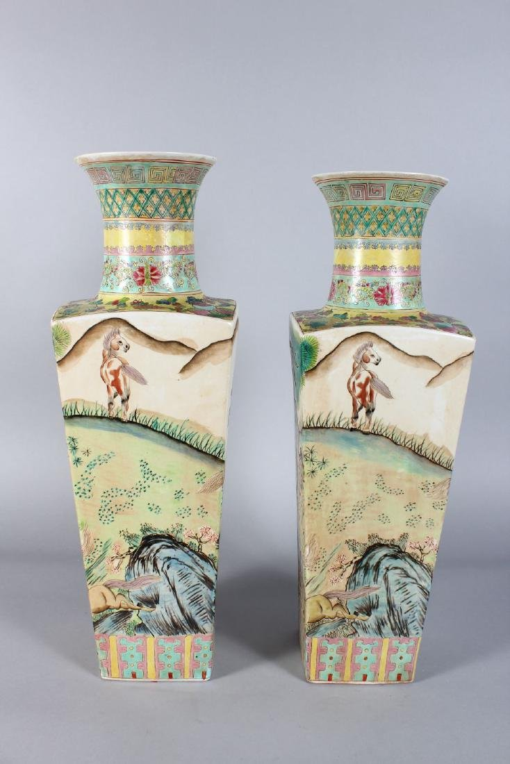 A PAIR OF CHINESE SQUARE TAPERING VASES painted with - 2