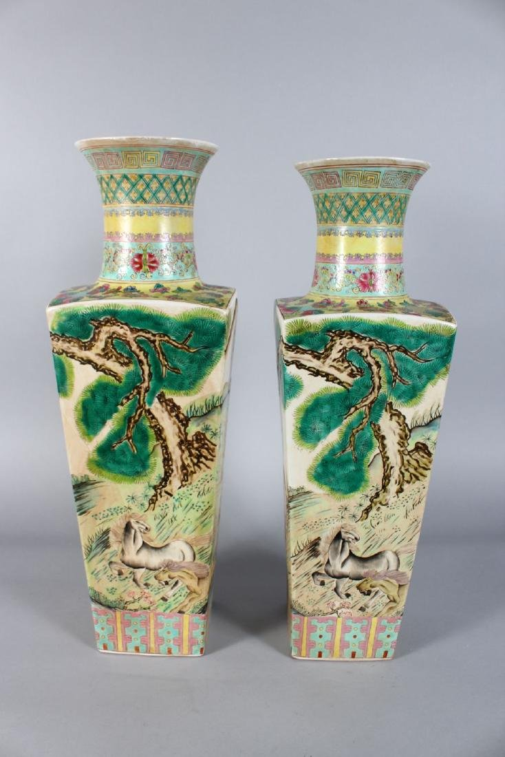 A PAIR OF CHINESE SQUARE TAPERING VASES painted with - 3