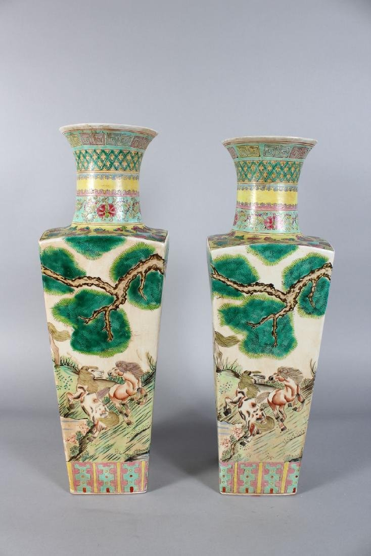 A PAIR OF CHINESE SQUARE TAPERING VASES painted with - 4