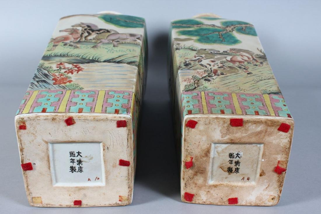 A PAIR OF CHINESE SQUARE TAPERING VASES painted with - 5