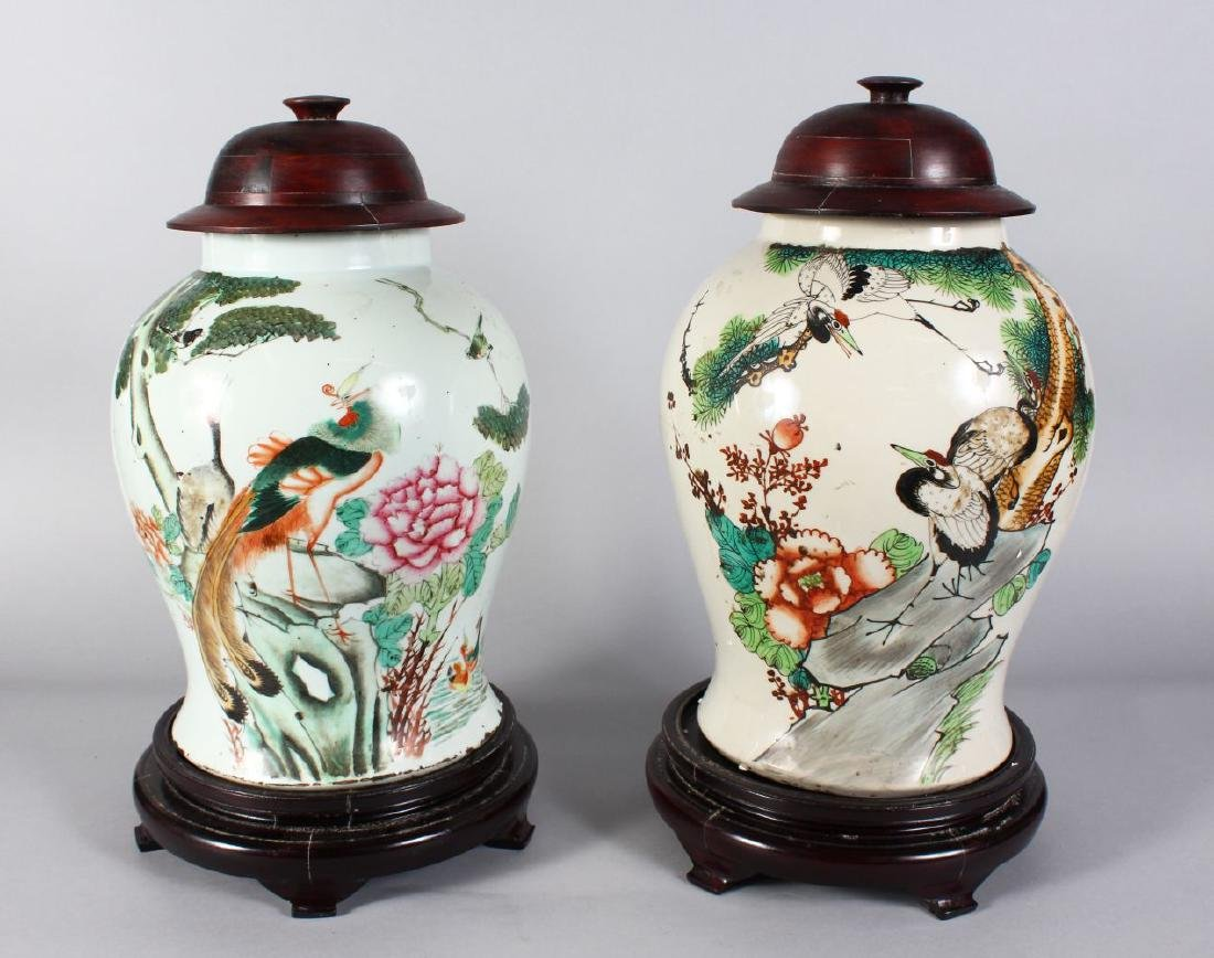 A PAIR OF CHINESE REPUBLICAN VASES with wooden bases