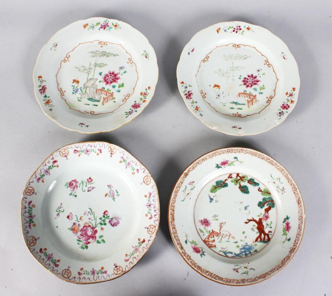 A PAIR OF 19TH CENTURY CHINESE FAMILLE ROSE PLATES and