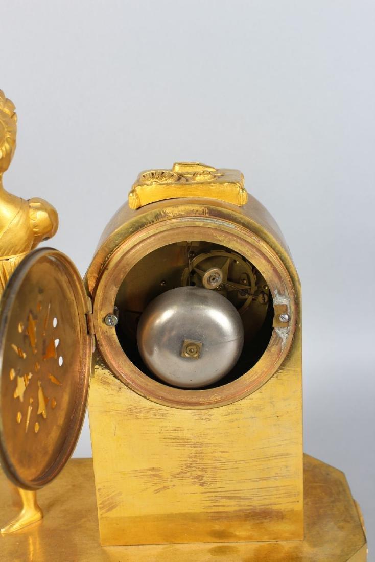 A SUPERB EMPIRE ORMOLU AND GILT BRONZE MANTLE CLOCK by - 4