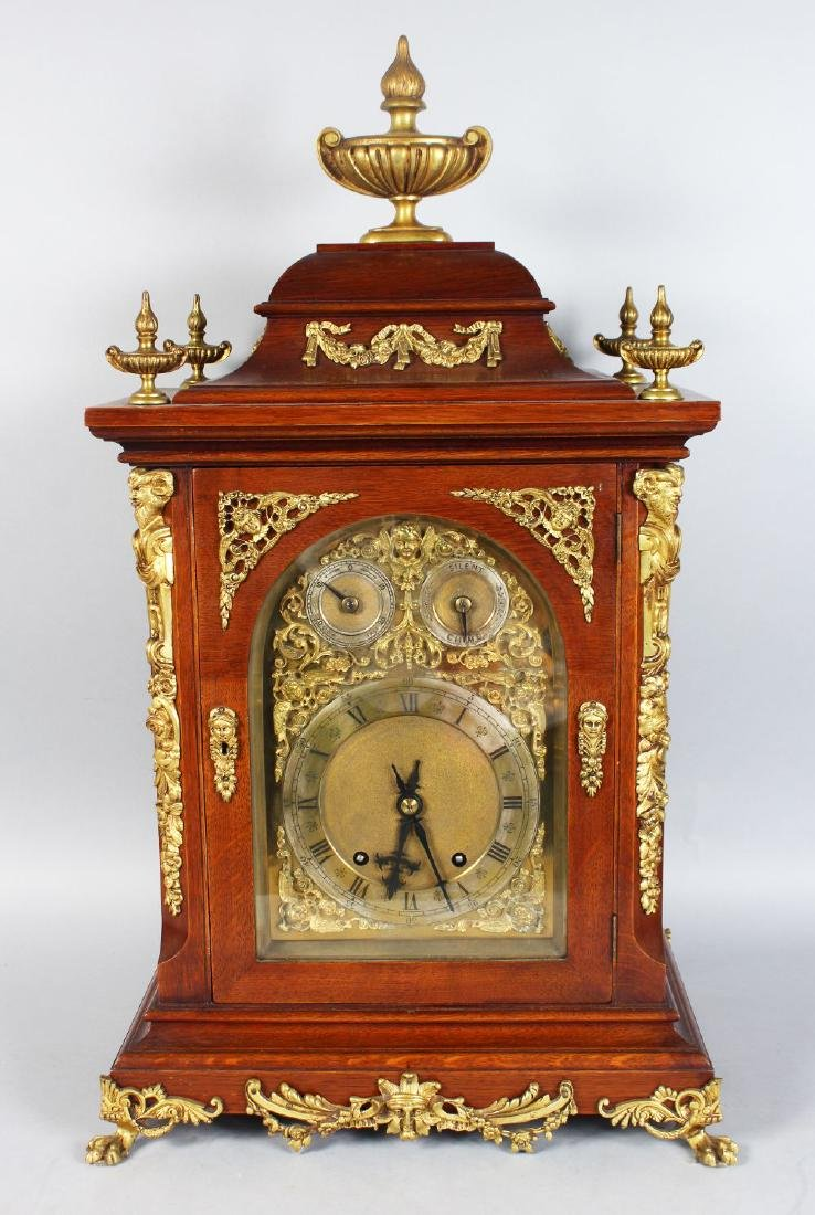 A GOOD VICTORIAN MAHOGANY CASED BRACKET CLOCK, with