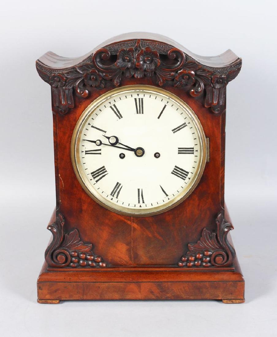 A VICTORIAN MAHOGANY FUSEE MOVEMENT BRACKET CLOCK, with