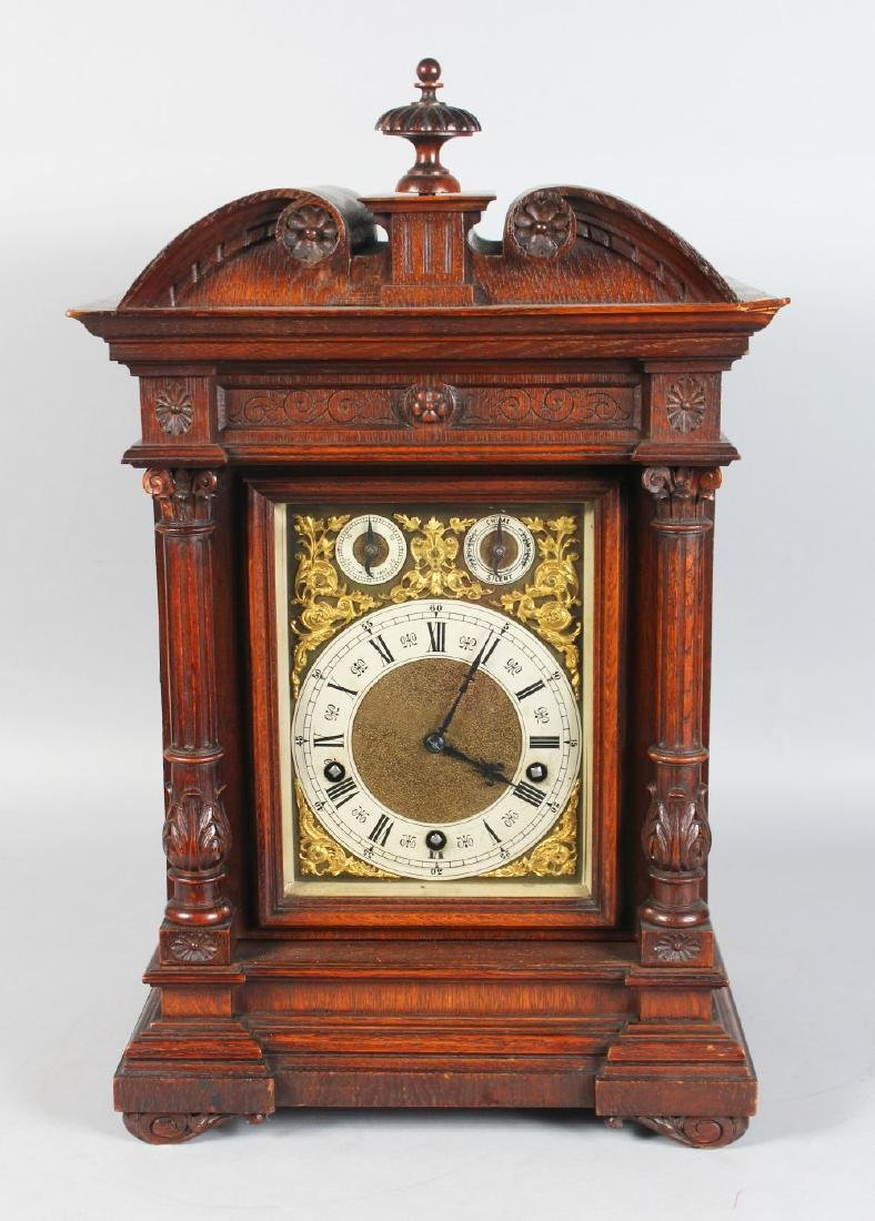 A VICTORIAN OAK CASED BRACKET CLOCK, with eight-day