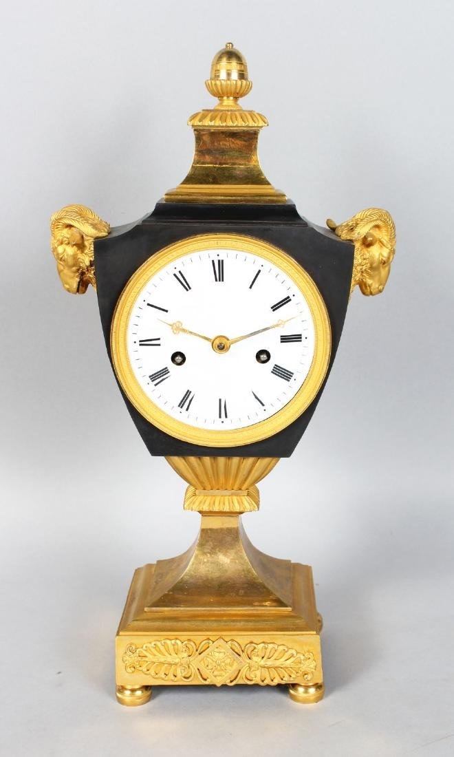 A GOOD FRENCH EMPIRE ORMOLU MANTLE CLOCK,with eight day