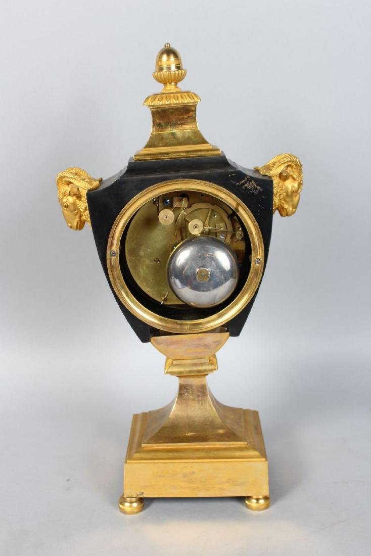 A GOOD FRENCH EMPIRE ORMOLU MANTLE CLOCK,with eight day - 3