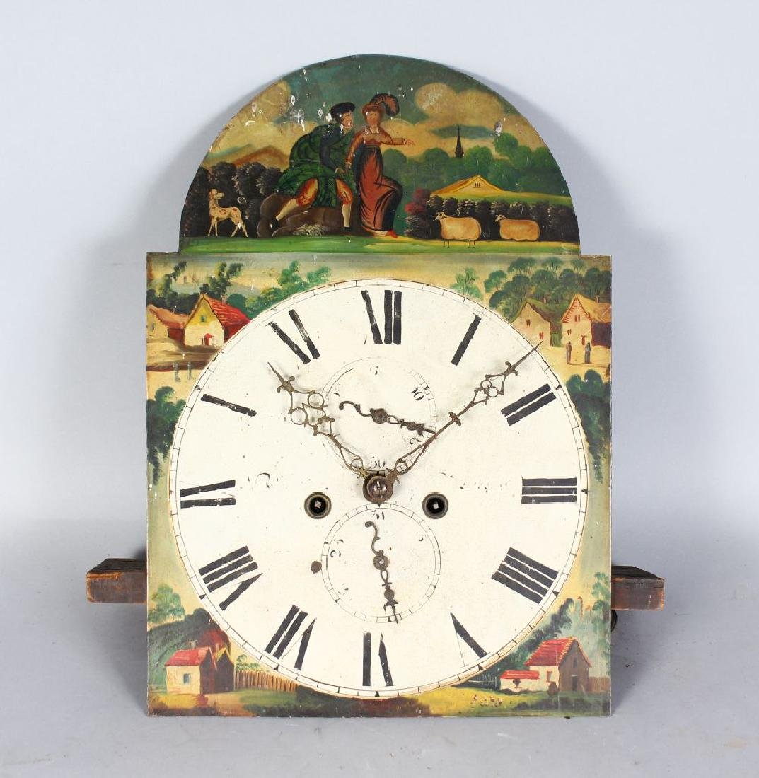 A 19TH CENTURY EIGHT-DAY PAINTED FACE CLOCK MOVEMENT