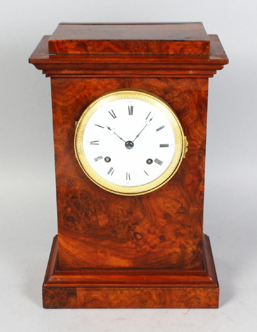 A 19TH CENTURY FRENCH WALNUT MANTLE CLOCK, with