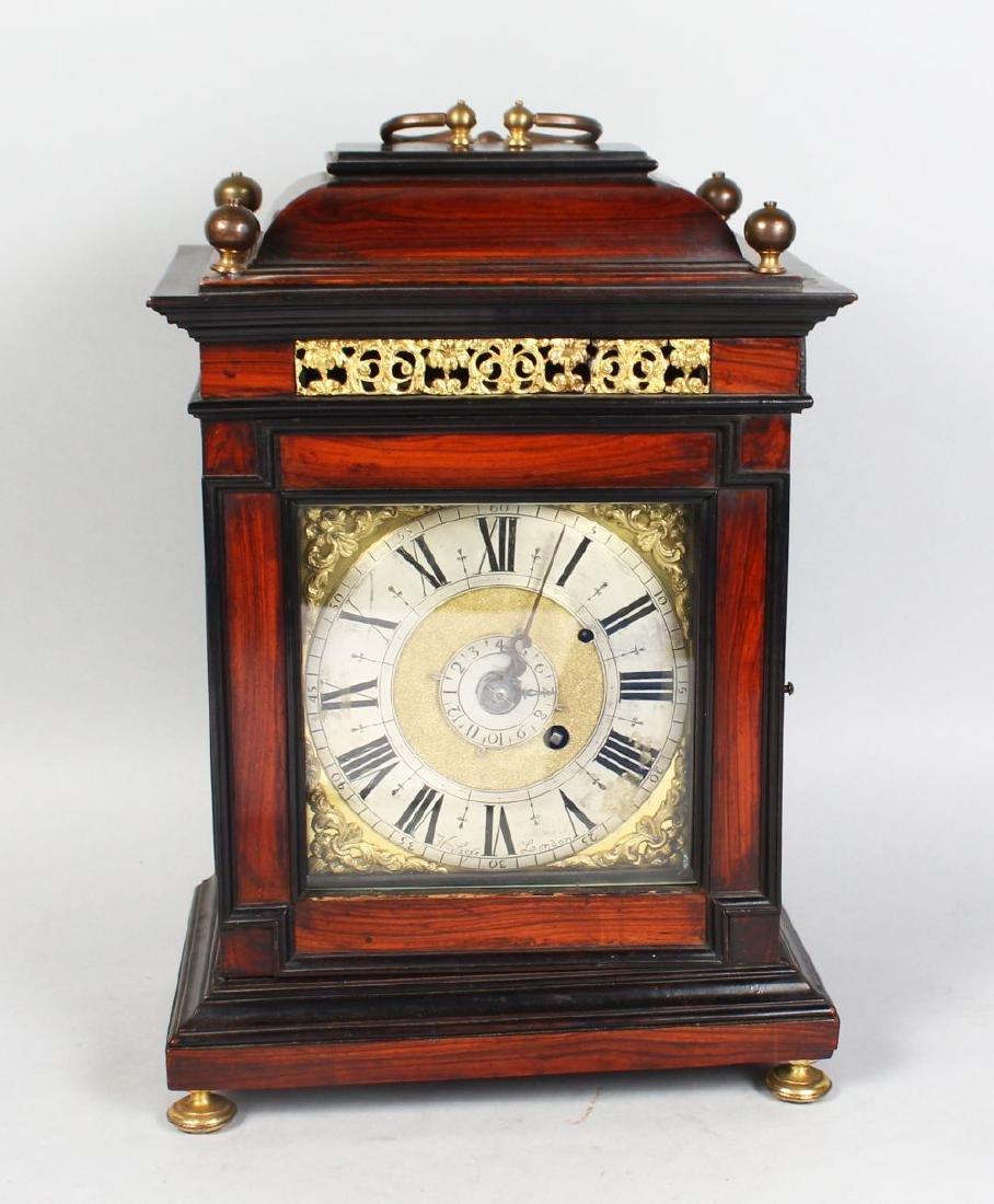 AN 18TH CENTURY MAHOGANY CASED BRACKET CLOCK by W.