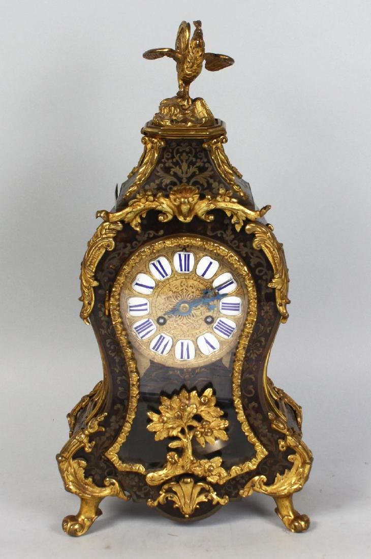 A GOOD FRENCH BOULLE MANTLE CLOCK, signed L.R. BREVETE,