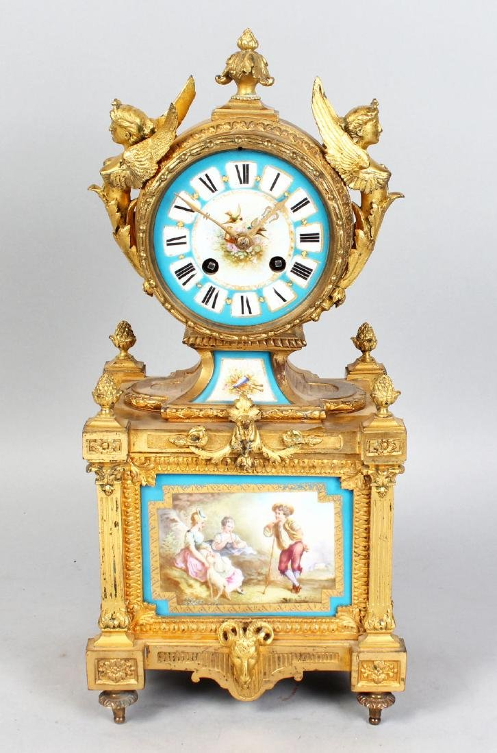 A VERY GOOD 19TH CENTURY FRENCH ORMOLU CLOCK, with