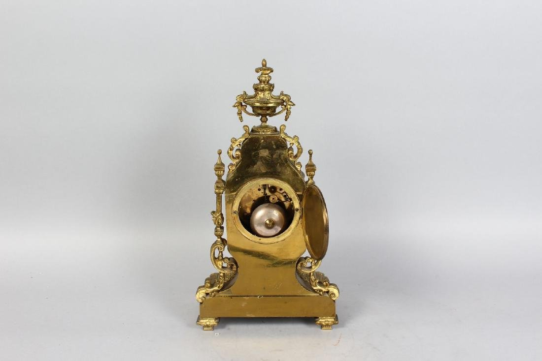 A GOOD 19TH CENTURY FRENCH BRASS MANTLE CLOCK, with - 2