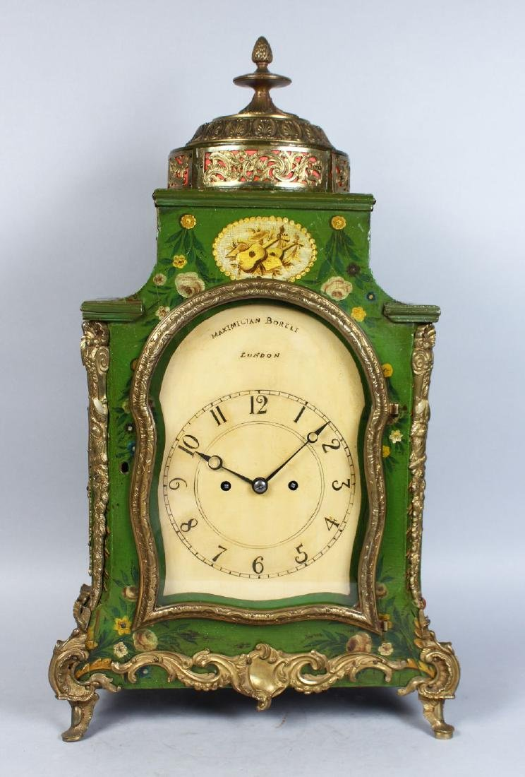 AN 18TH CENTURY GREEN LACQUER BRACKET CLOCK AND BRACKET