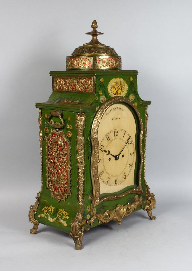 AN 18TH CENTURY GREEN LACQUER BRACKET CLOCK AND BRACKET - 2