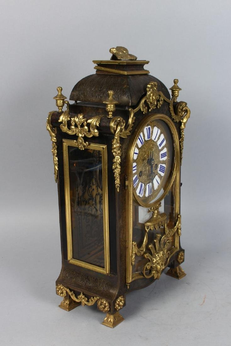 A GOOD 19TH CENTURY FRENCH BOULLE MANTLE CLOCK, the - 2