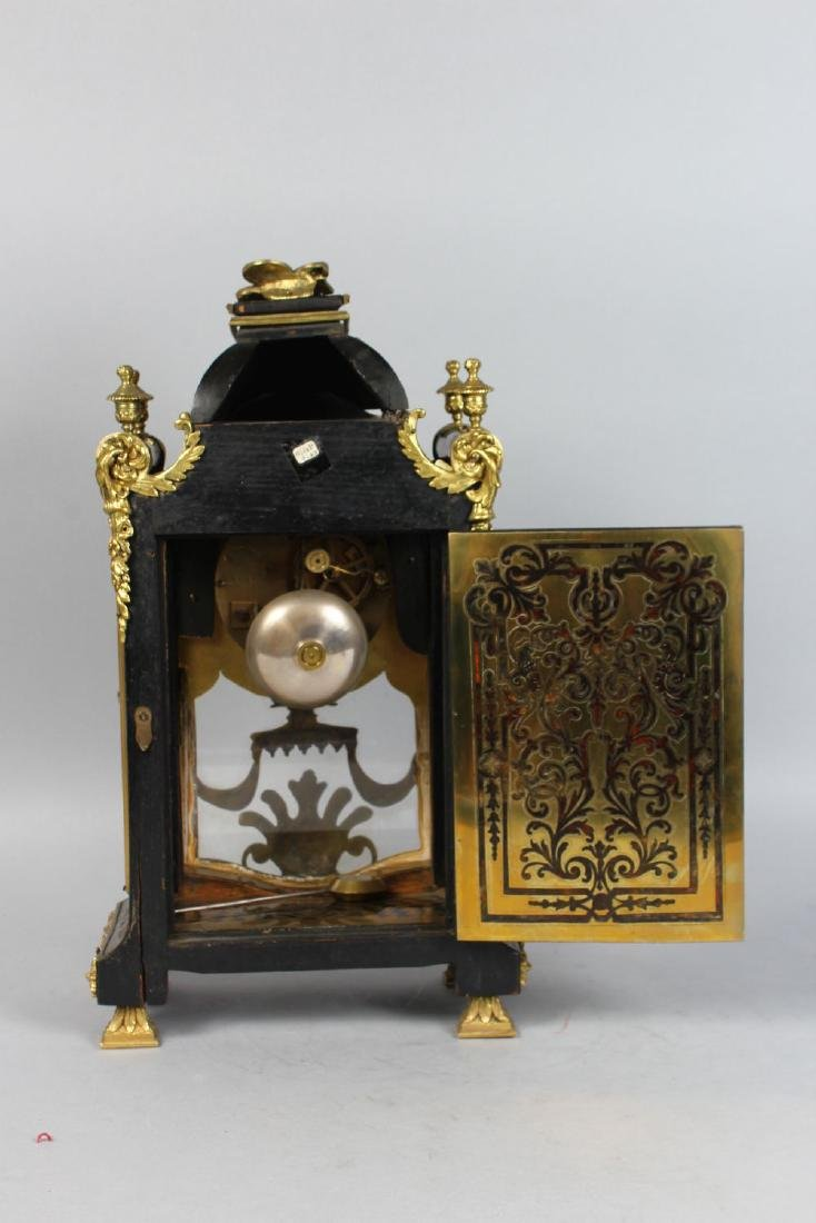 A GOOD 19TH CENTURY FRENCH BOULLE MANTLE CLOCK, the - 3