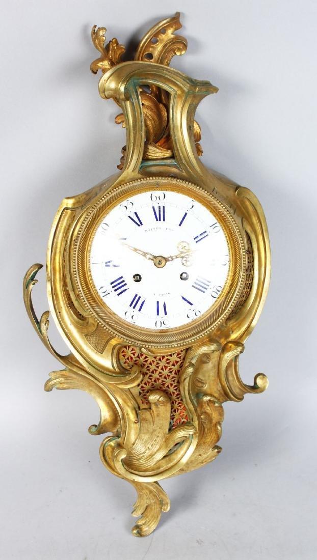 A VERY GOOD 19TH CENTURY LOUIS XVI ORMOLU CARTEL CLOCK