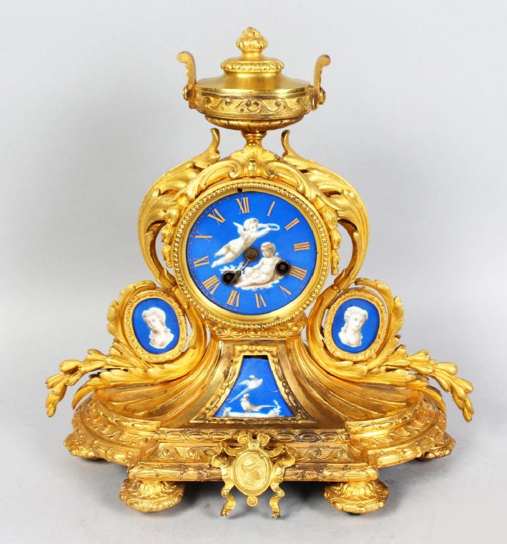 A GOOD 19TH CENTURY FRENCH GILT ORMOLU MANTLE CLOCK,