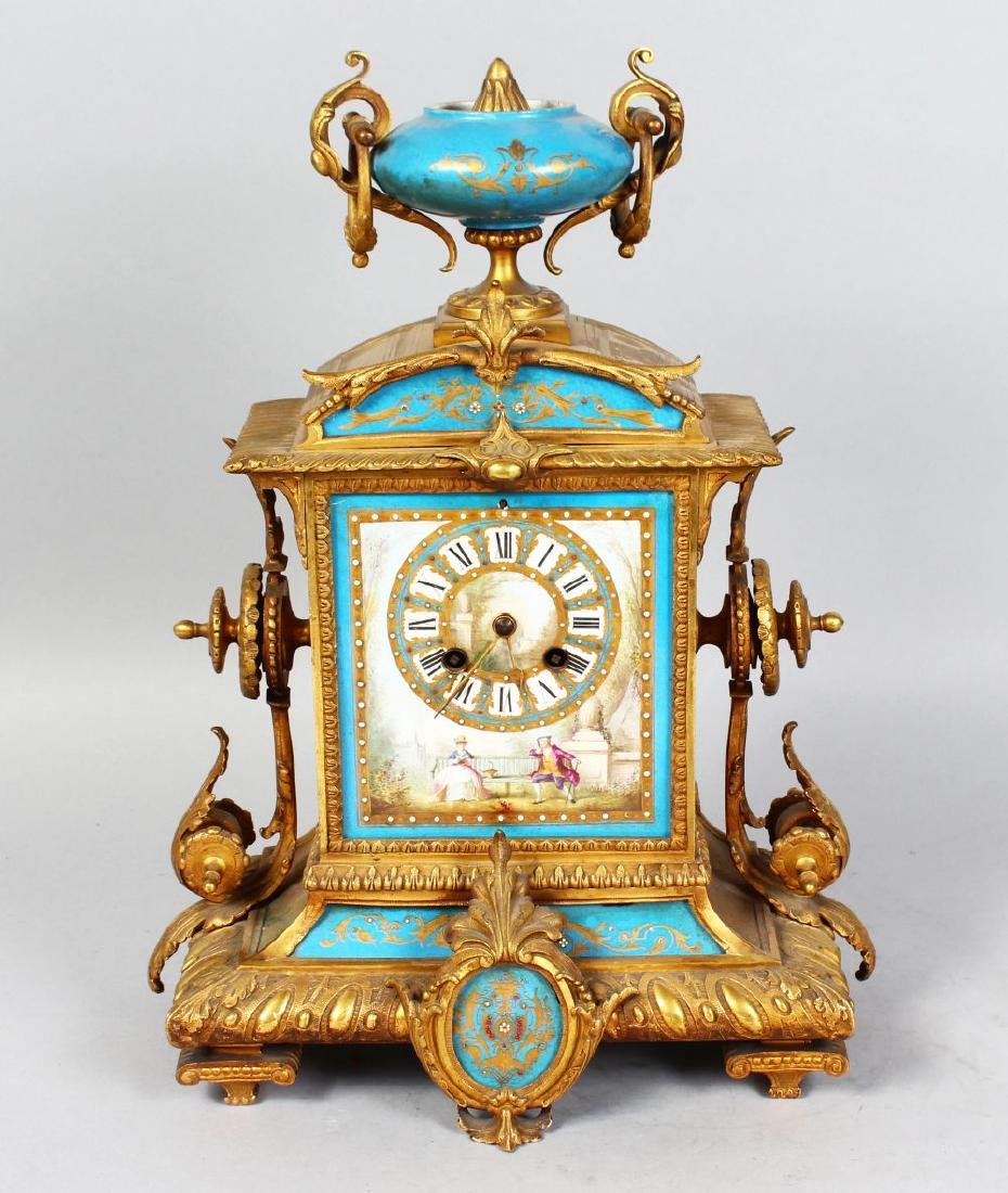 A 19TH CENTURY FRENCH ORMOLU AND SEVRES PORCELAIN
