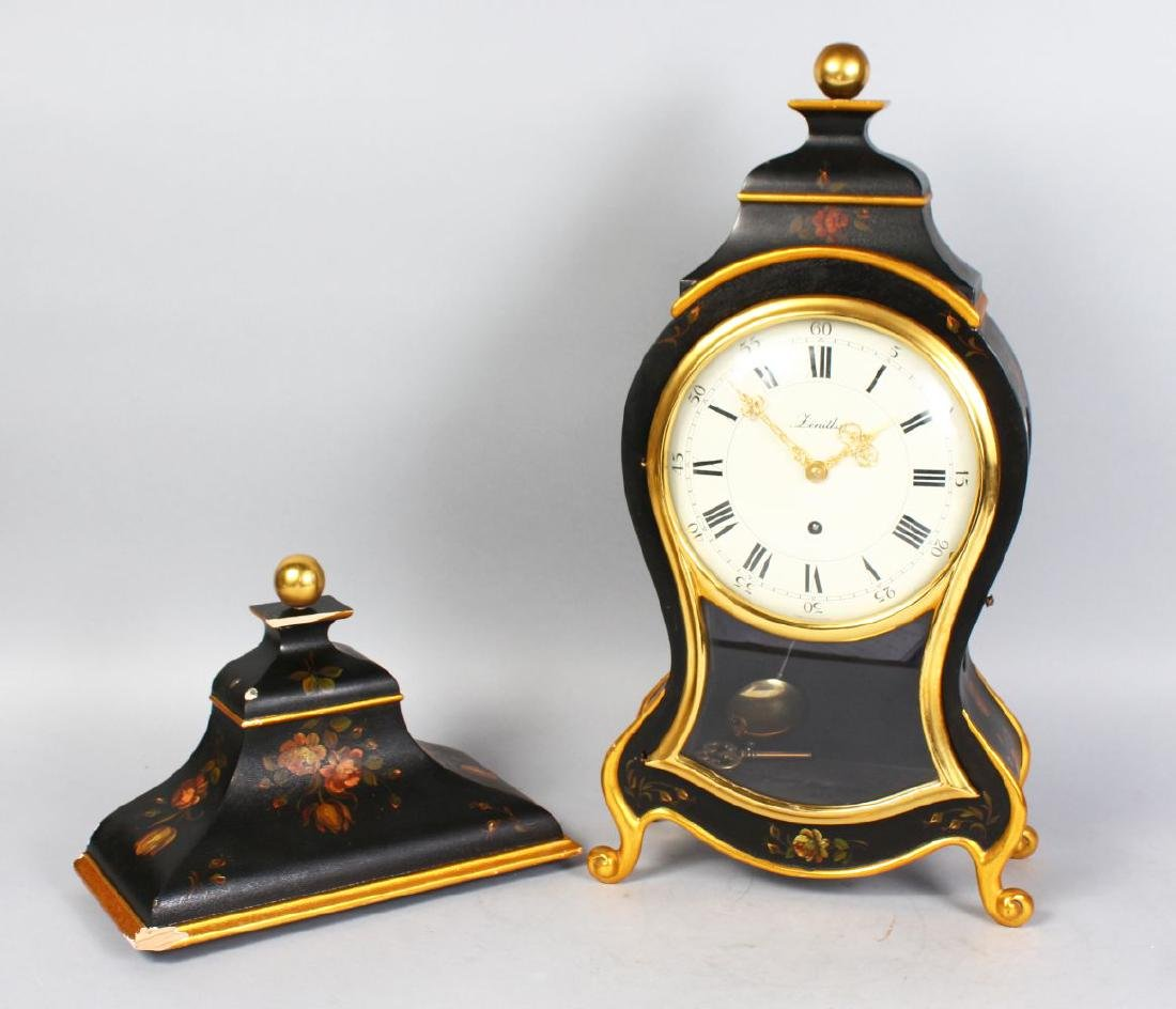 A LOUIS XVI STYLE ZENITH LACQUER CASED MANTLE CLOCK.