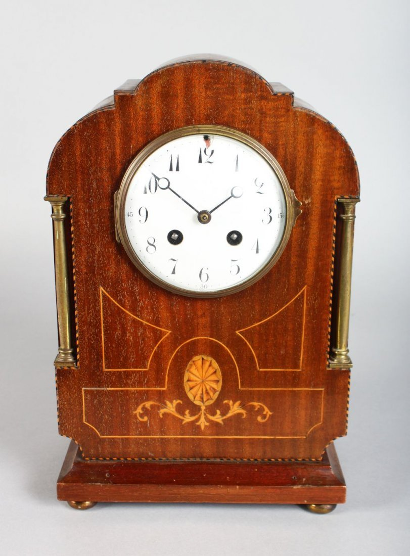 AN EDWARDIAN MAHOGANY INLAID MANTLE CLOCK, chiming,
