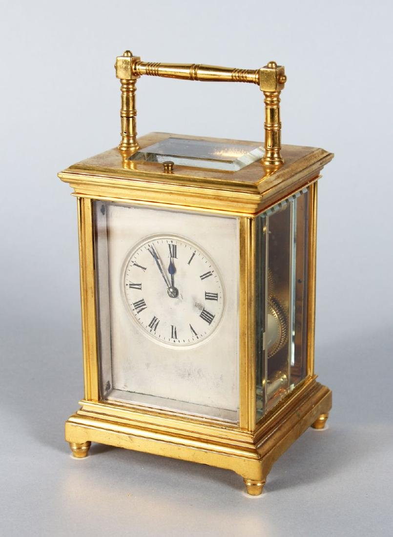 AN 19TH CENTURY FRENCH BRASS REPEATER CARRIAGE CLOCK