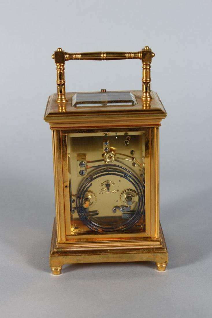 AN 19TH CENTURY FRENCH BRASS REPEATER CARRIAGE CLOCK - 3
