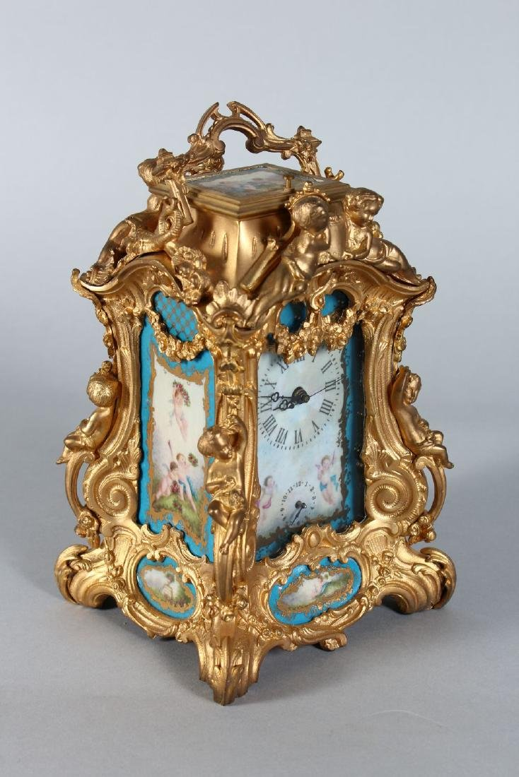 A FRENCH ORMOLU REPEATER CARRIAGE CLOCK with painted - 2