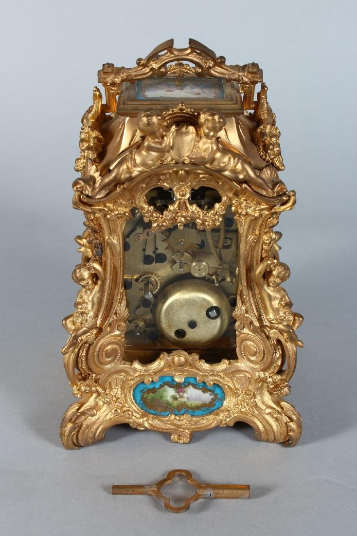 A FRENCH ORMOLU REPEATER CARRIAGE CLOCK with painted - 3
